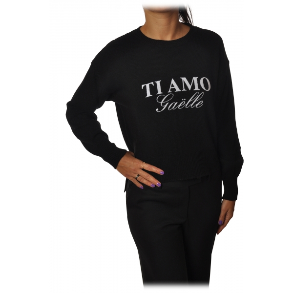 Gaëlle Paris - Pullover Girocollo Manica Lunga - Nero - Maglione - Made in Italy - Luxury Exclusive Collection