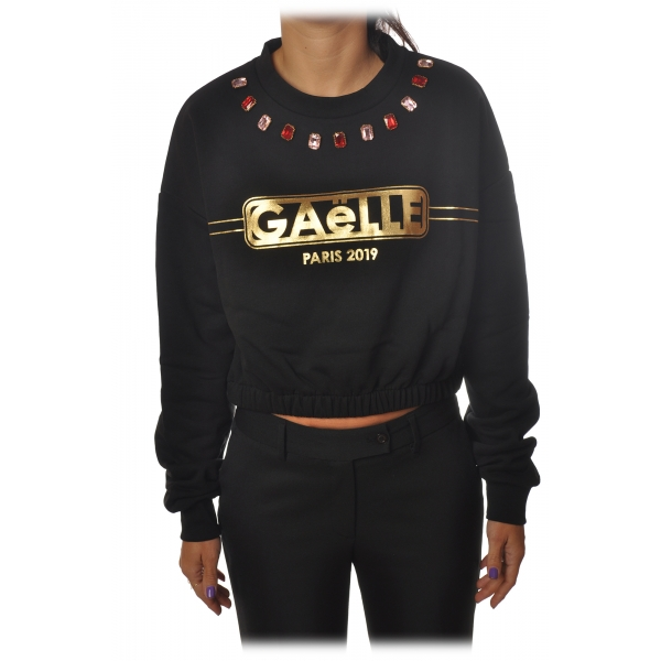Gaëlle Paris - Long Sleeve Crew-Neck Sweatshirt - Black - Sweatshirt - Made in Italy - Luxury Exclusive Collection