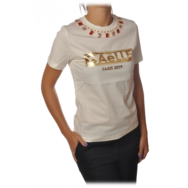 Elisabetta Franchi - Short Sleeve Crewneck T-Shirt - Cream - T-Shirt - Made in Italy - Luxury Exclusive Collection