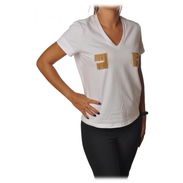 Elisabetta Franchi - Short Sleeve Round Neck T-Shirt Logo - White - T-Shirt - Made in Italy - Luxury Exclusive Collection