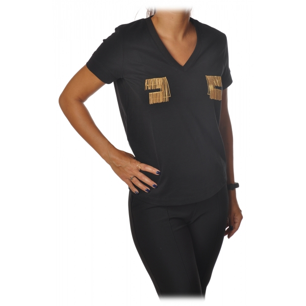 Elisabetta Franchi - Short Sleeve Round Neck T-Shirt Logo - Black - T-Shirt - Made in Italy - Luxury Exclusive Collection