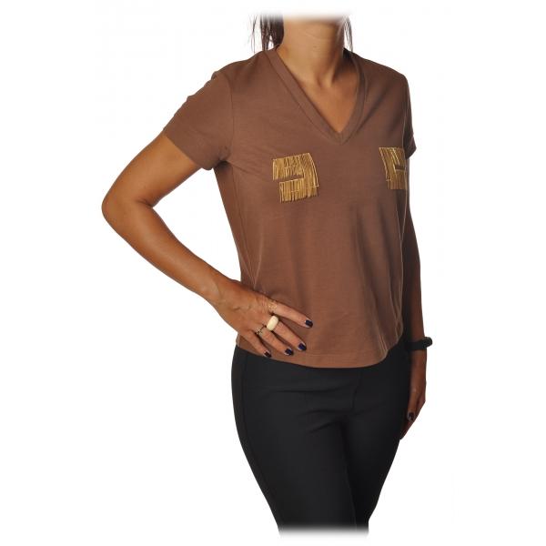 Elisabetta Franchi - T-Shirt Girocollo Manica Corta Logo - Cioccolato - T-Shirt - Made in Italy - Luxury Exclusive Collection