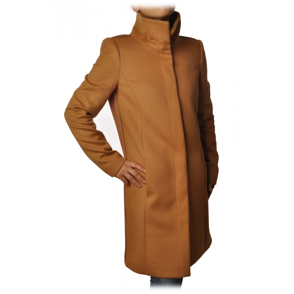 Elisabetta Franchi - Coat 3/4 Screwed in Cloth - Mustard Brown - Jacket - Made in Italy - Luxury Exclusive Collection
