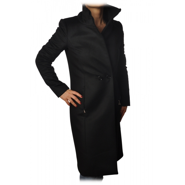 Elisabetta Franchi - Coat 3/4 Double Breasted Closure - Black - Jacket - Made in Italy - Luxury Exclusive Collection