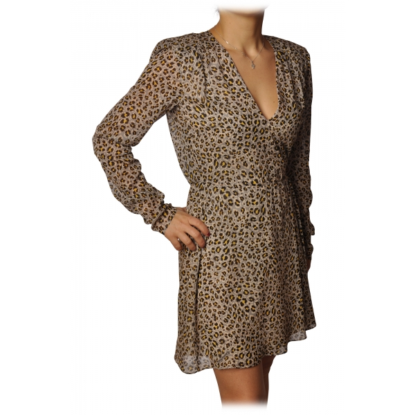 Elisabetta Franchi - Animalier Short Model V-Neck - Tribe - Dress - Made in Italy - Luxury Exclusive Collection