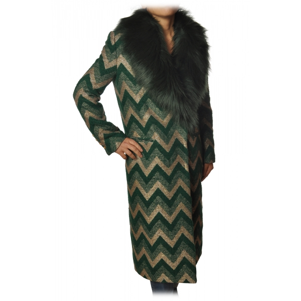 Pinko - Cappotto Libra in Ecopelliccia Jaquard - Verde Oro - Giacca - Made in Italy - Luxury Exclusive Collection