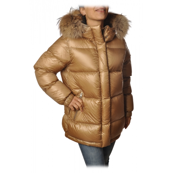 Woolrich - Parka Aliquippa con Cappuccio Bordato di Pelliccia - Oro Khaki- Giacca - Luxury Exclusive Collection