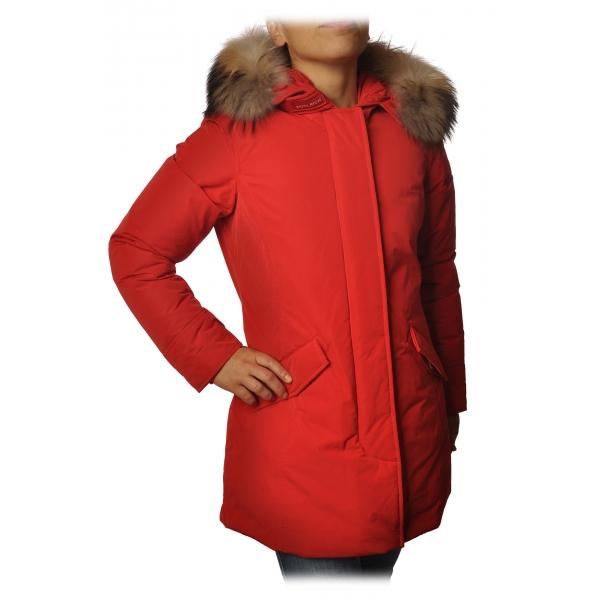 Woolrich -  Arctic Parka con Cappuccio più Pelliccia a Contrasto di Colore - Rosso - Giacca - Luxury Exclusive Collection