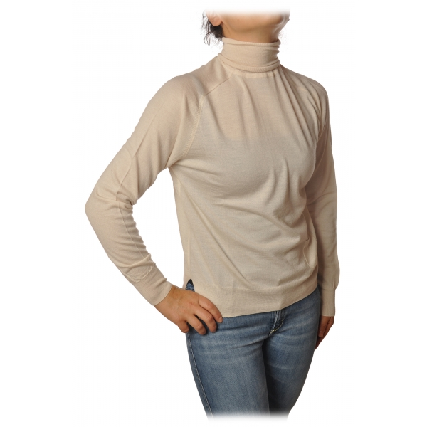 Elisabetta Franchi - High Neck Pullover - Butter - Sweater - Made in Italy - Luxury Exclusive Collection