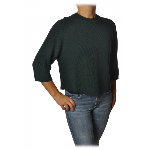 Elisabetta Franchi - Crew-Neck Pullover - Dark Green - Sweater - Made in Italy - Luxury Exclusive Collection