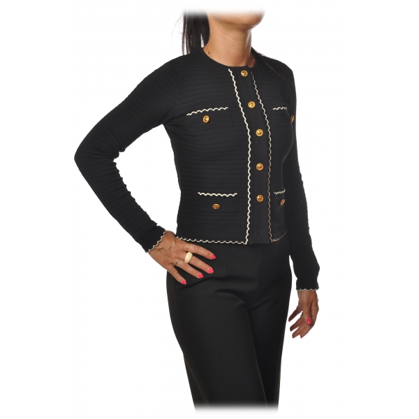 Elisabetta Franchi - Crew-Neck Sweater with Buttons - Black - Sweater - Made in Italy - Luxury Exclusive Collection