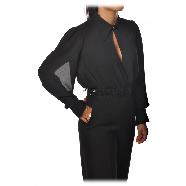 Elisabetta Franchi - Body with Long Sleeve - Black - Shirt - Made in Italy - Luxury Exclusive Collection