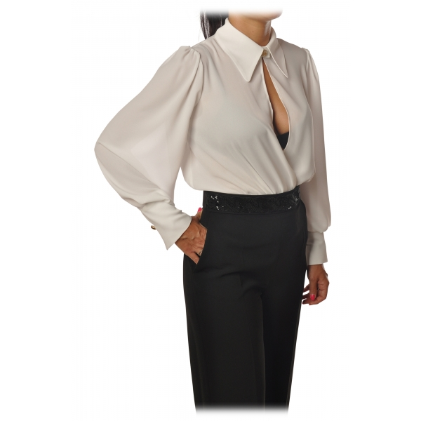 Elisabetta Franchi - Body Manica Lunga - Bianco - Camicia - Made in Italy - Luxury Exclusive Collection
