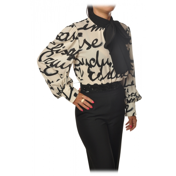 Elisabetta Franchi - Body with Long Sleeve - Butter/Black - Shirt - Made in Italy - Luxury Exclusive Collection