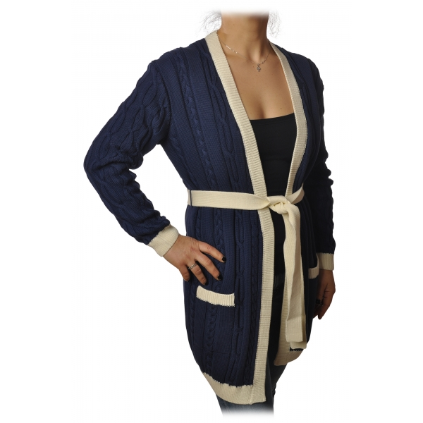 Elisabetta Franchi - Long Cardigan with Belt - Blue Navy - Sweater - Made in Italy - Luxury Exclusive Collection