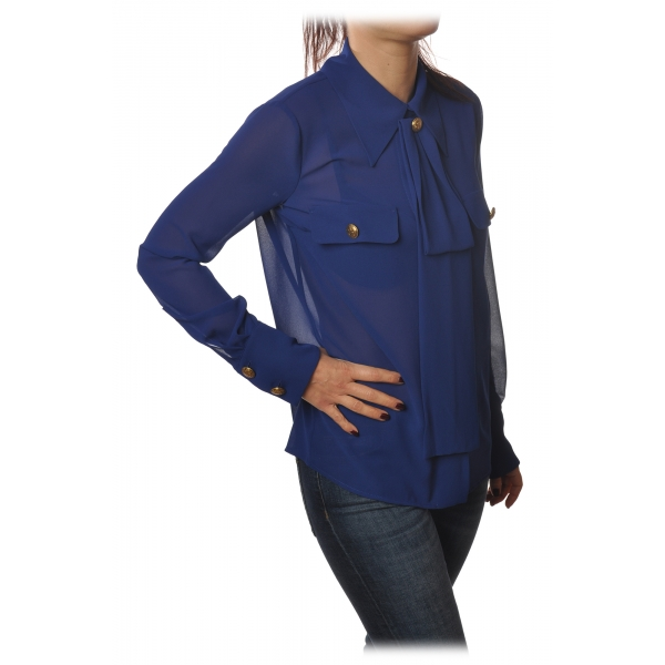 Elisabetta Franchi - Camicia Manica Lunga - Blue - Camicia - Made in Italy - Luxury Exclusive Collection
