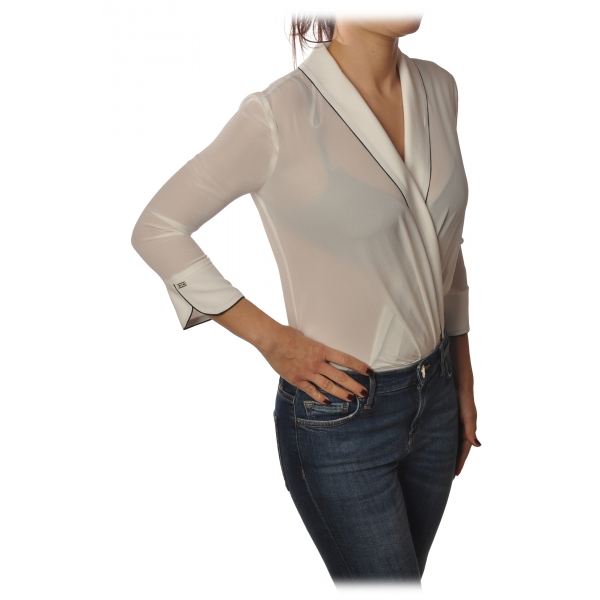 Elisabetta Franchi - Camicia Manica 3/4 - Bianco - Camicia - Made in Italy - Luxury Exclusive Collection