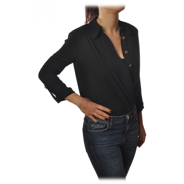 Elisabetta Franchi - Shirt with 3/4 Sleeve - Black - Shirt - Made in Italy - Luxury Exclusive Collection