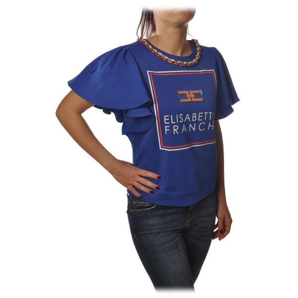 Elisabetta Franchi - Sweatshirt with Short Sleeves Logo - Blue - Sweatshirt - Made in Italy - Luxury Exclusive Collection
