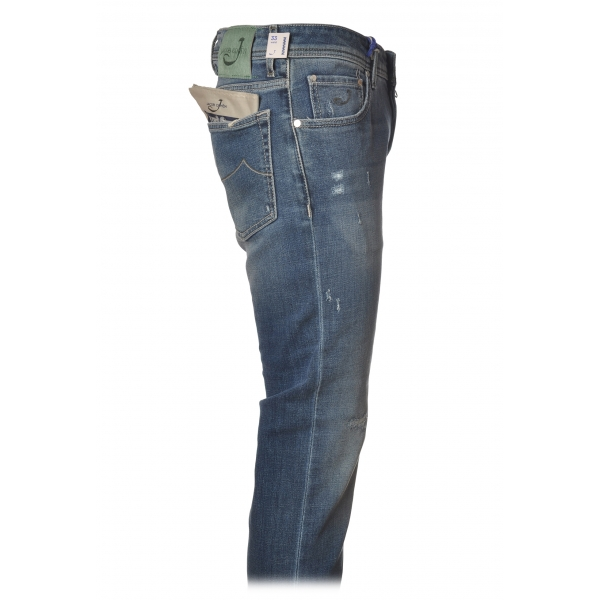 Jacob Cohën - 5 Pockets Jeans Slim Fit with Rips - Light Denim - Trousers - Made in Italy - Luxury Exclusive Collection