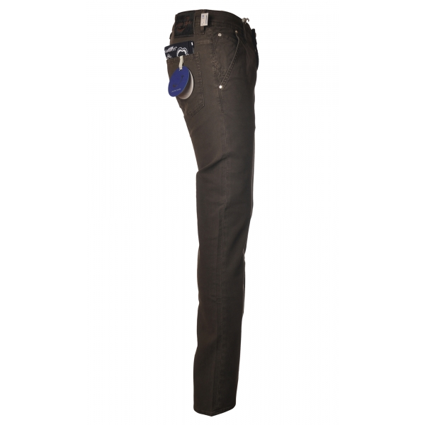 Jacob Cohën - Chinos trousers Slim Fit - Dark Brown - Trousers - Made in Italy - Luxury Exclusive Collection
