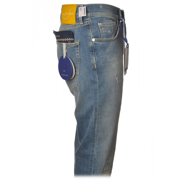 Jacob Cohën - 5 Pocket Jeans Straight Leg with Rips - Light Denim - Trousers - Made in Italy - Luxury Exclusive Collection