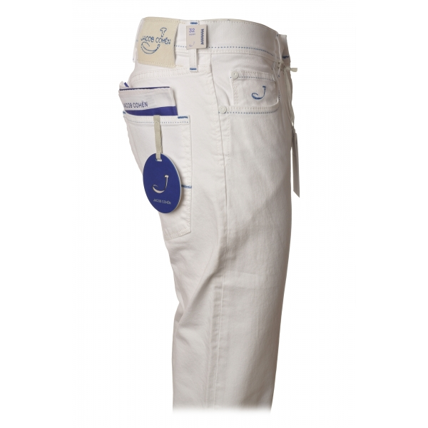 Jacob Cohën - 5-Pocket Trousers Straight Leg - Optical White - Trousers - Made in Italy - Luxury Exclusive Collection