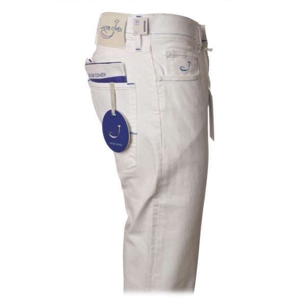 Jacob Cohën - Pantalone 5 Tasche Gamba Dritta - Bianco Ottico - Pantaloni - Made in Italy - Luxury Exclusive Collection