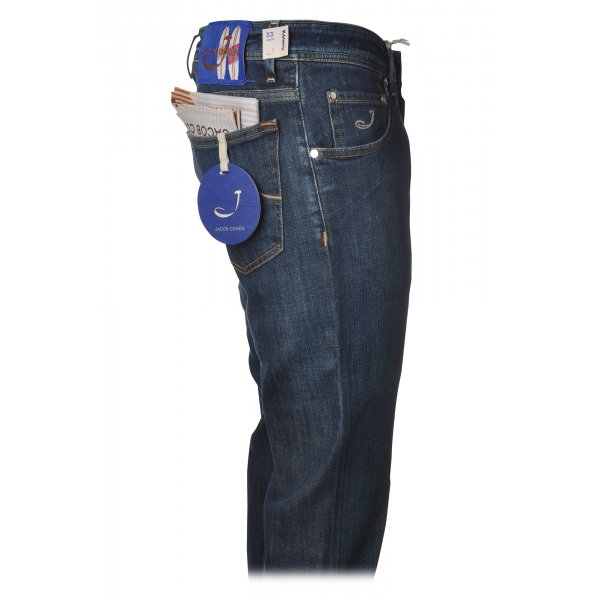 Jacob Cohën - 5 Pockets Jeans Straight Leg - Medium-Dark Denim - Trousers - Made in Italy - Luxury Exclusive Collection