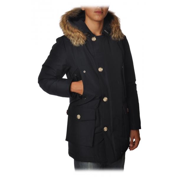 Woolrich - Artic Parka DF Lungo con Cappuccio Bordato di Pelliccia - Blu Navy - Giacca - Luxury Exclusive Collection