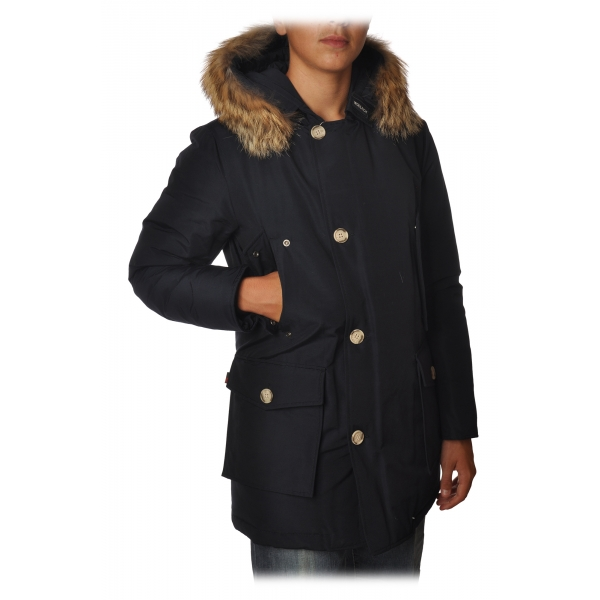 Woolrich - Long Artic Parka DF with Fur-trimmed Hood- Navy Blue - Jacket - Luxury Exclusive Collection