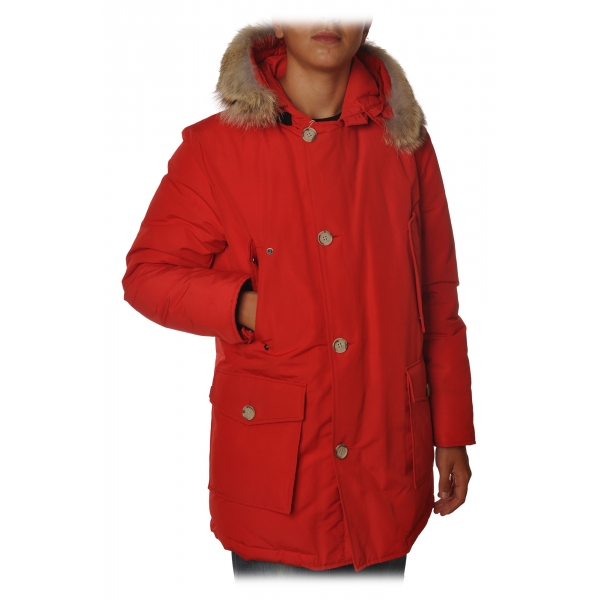 Woolrich - Long Artic Parka DF with Fur-trimmed Hood- Red - Jacket - Luxury Exclusive Collection