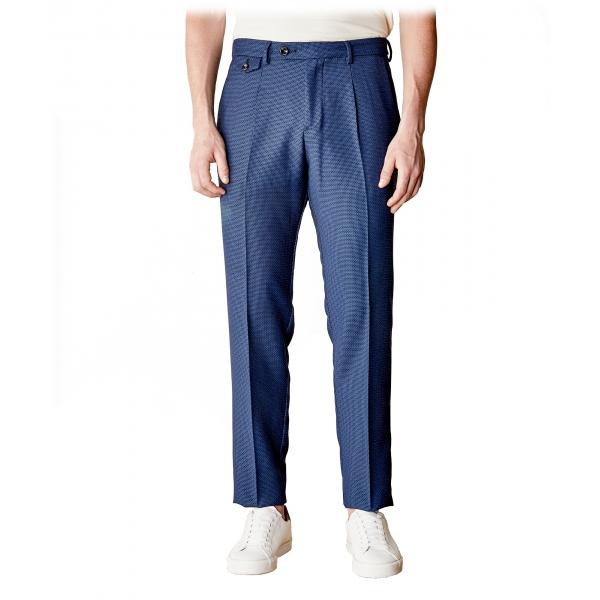 Cruna - Pantalone Raval in Fresco Lana - 562 - Navy - Handmade in Italy - Pantaloni di Alta Qualità Luxury