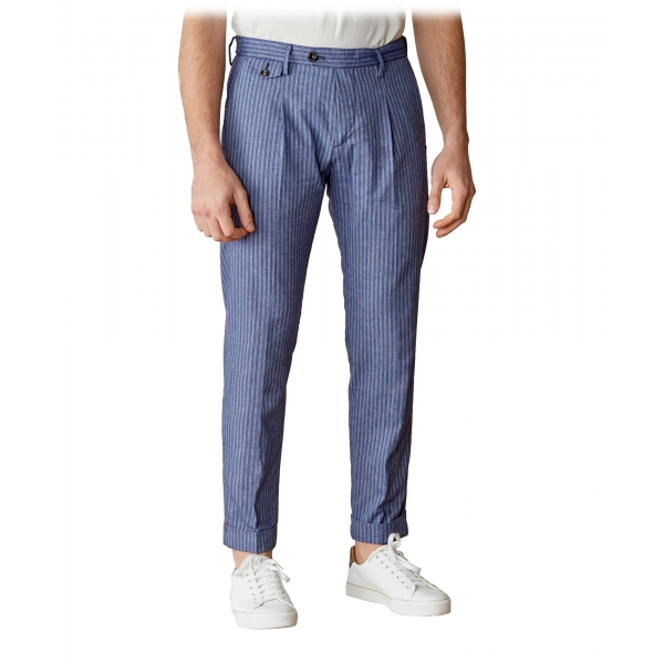 Cruna - Raval Trousers in Linen and Cotton - 547 - Navy - Handmade in Italy - Luxury High Quality Pants