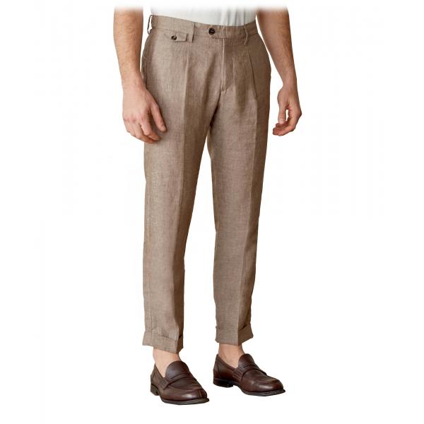Cruna - Pantalone Raval in 100 % Lino - 545 - Moro - Handmade in Italy - Pantaloni di Alta Qualità Luxury