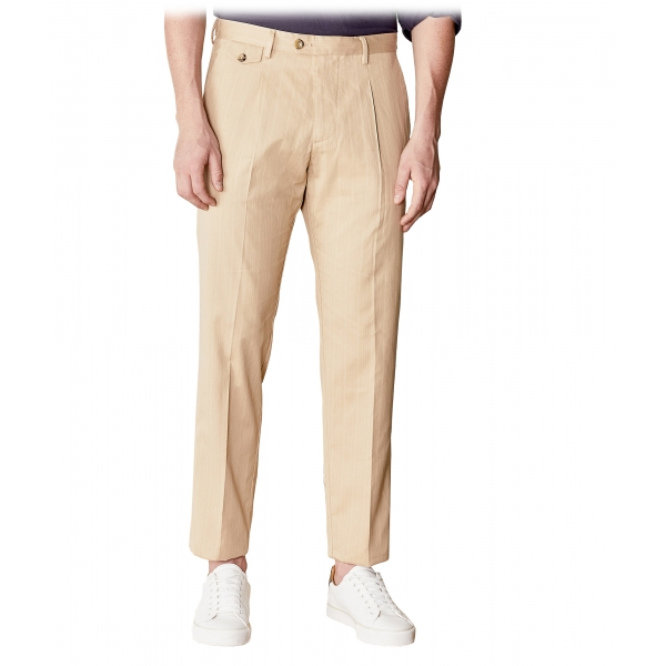 Cruna - Pantalone Raval in Cotone - 536 - Terra - Handmade in Italy - Pantaloni di Alta Qualità Luxury