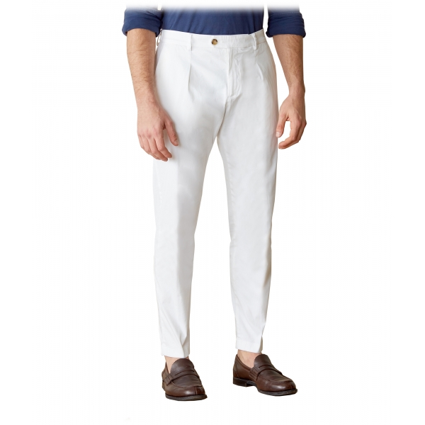 Cruna - Raval Trousers in Cotton - 520 - Off White - Handmade in Italy - Luxury High Quality Pants