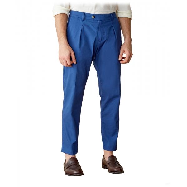 Cruna - Pantalone Raval in Cotone - 520 - Avio - Handmade in Italy - Pantaloni di Alta Qualità Luxury