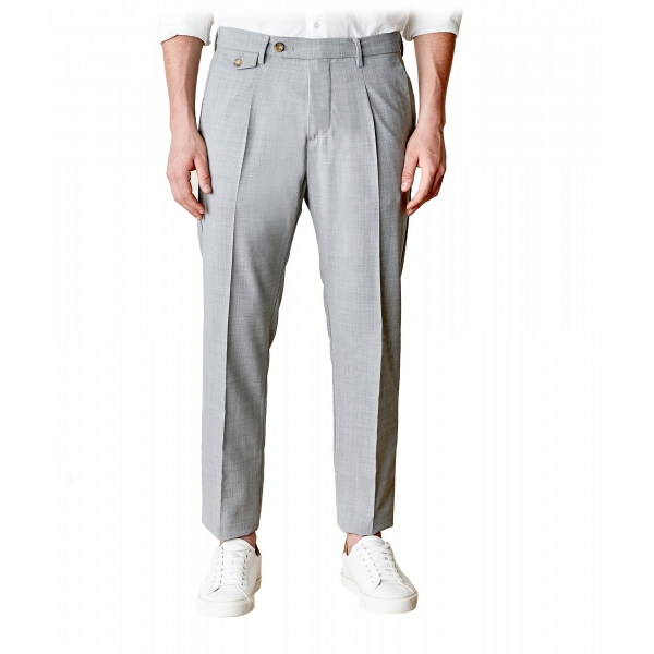 Cruna - Raval Trousers in Fresh Wool - 560 - Light Grey - Handmade in Italy - Luxury High Quality Pants