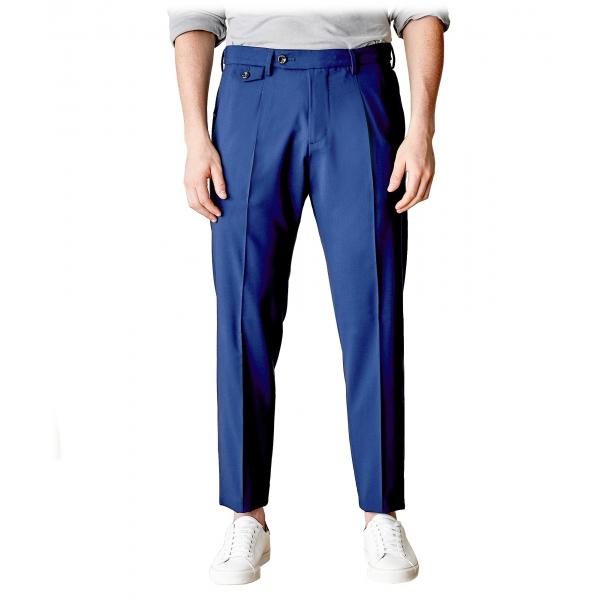 Cruna - Pantalone Raval in Fresco Lana - 560 - Navy - Handmade in Italy - Pantaloni di Alta Qualità Luxury