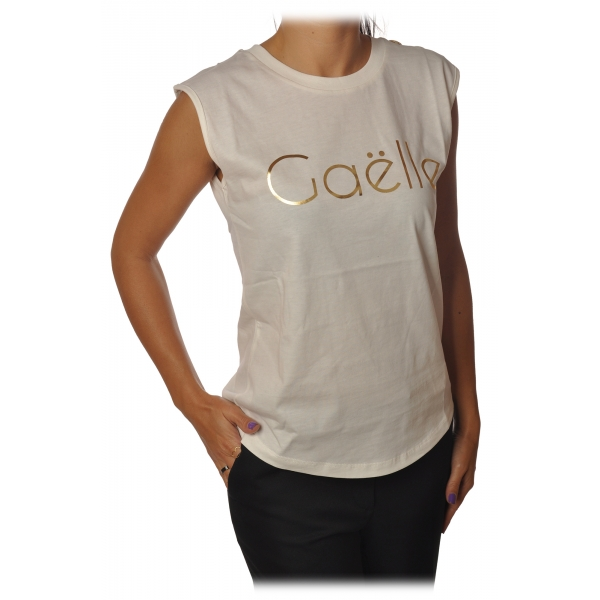 Gaëlle Paris - T-Shirt Girocollo Senza Manica - Bianco - T-Shirt - Made in Italy - Luxury Exclusive Collection