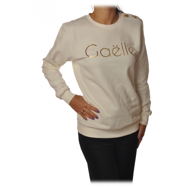 Gaëlle Paris - Long Sleeve Crew-Neck Sweatshirt - White - Sweatshirt - Made in Italy - Luxury Exclusive Collection