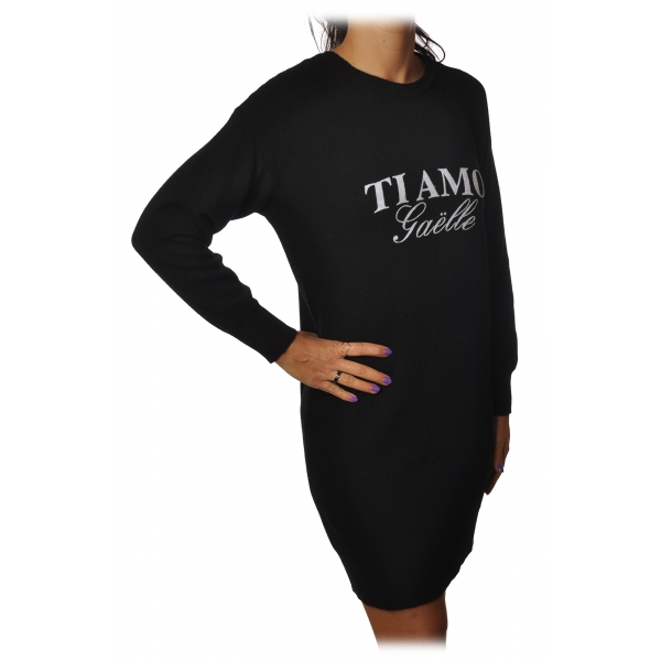 Gaëlle Paris - Dress Over with Long Sleeve - Black - Sweatshirt - Made in Italy - Luxury Exclusive Collection