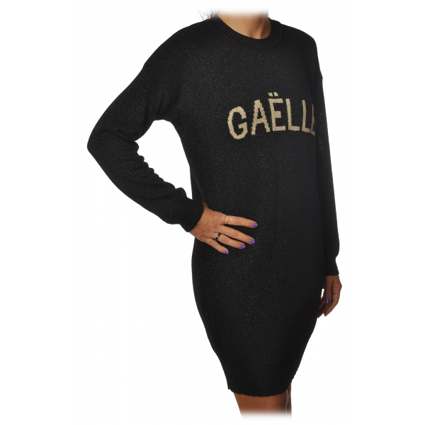 Gaëlle Paris - Crewneck Dress with Long Sleeve - Black - Dress - Made in Italy - Luxury Exclusive Collection
