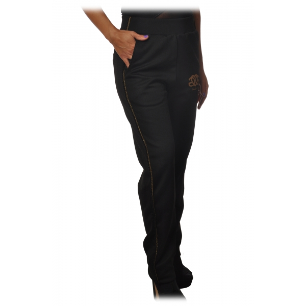Gaëlle Paris - Pantaloni Sportivi Gamba Dritta - Nero - Pantaloni - Made in Italy - Luxury Exclusive Collection