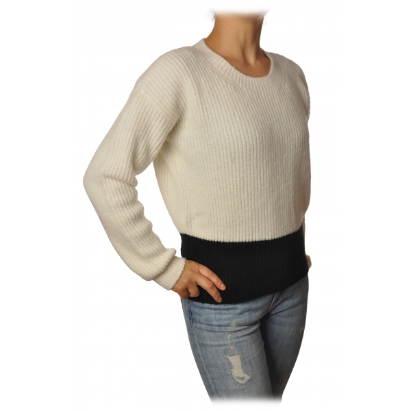 Gaëlle Paris - Crewneck Pullover with Opening on the Back - White - Sweater - Made in Italy - Luxury Exclusive Collection