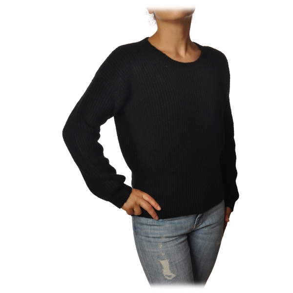 Gaëlle Paris - Crewneck Pullover with Opening on the Back - Black - Sweater - Made in Italy - Luxury Exclusive Collection
