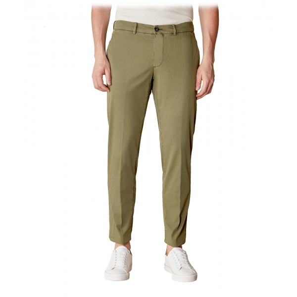 Cruna - New Town Trousers in Cotton - 522 - Army - Handmade in Italy - Luxury High Quality Pants