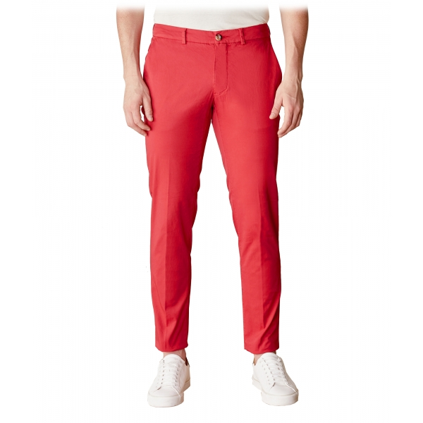 Cruna - New Town Trousers in Cotton - 522 - Red - Handmade in Italy - Luxury High Quality Pants