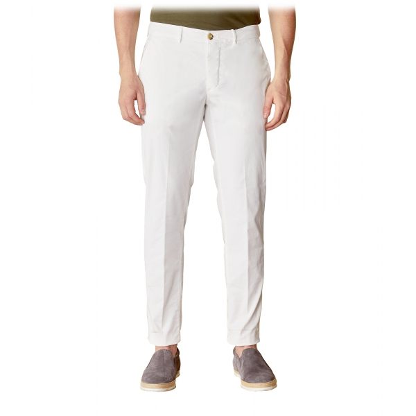 Cruna - New Town Trousers in Cotton - 522 - Off White - Handmade in Italy - Luxury High Quality Pants